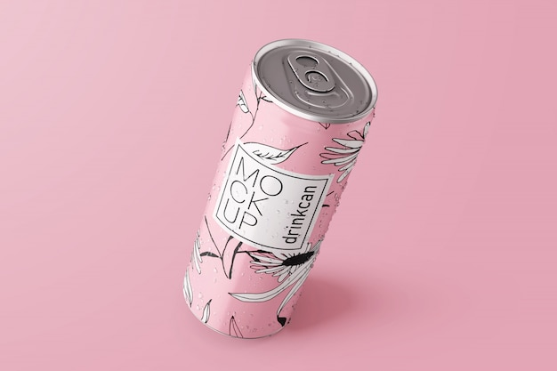 Lange aluminium drinkbak mockup Premium Psd