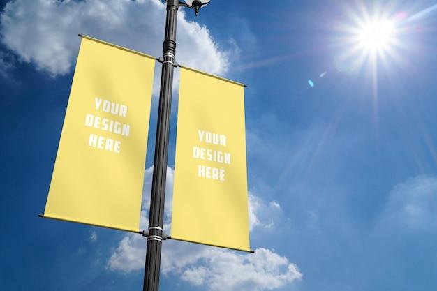 Lantaarnpaal banner mockup Premium Psd