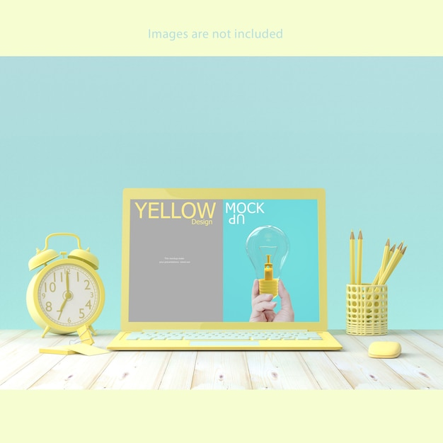 Laptop mock-up op bureau Premium Psd