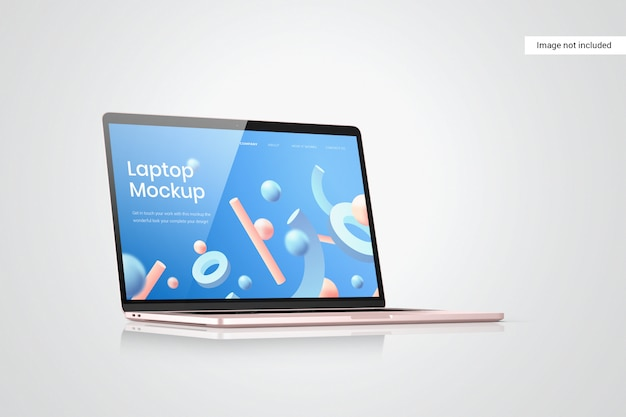 Laptop scherm mockup zijaanzicht Premium Psd