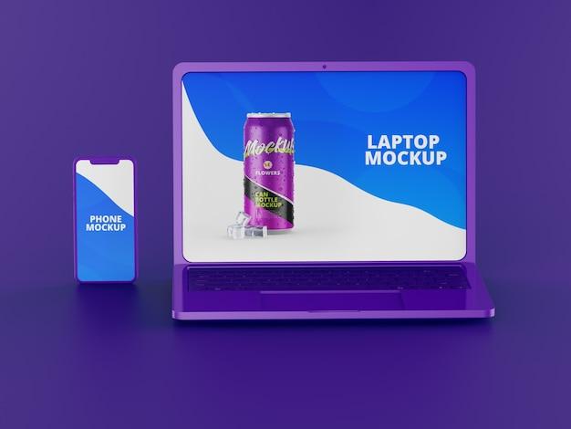 Laptopmodel met telefoon Premium Psd