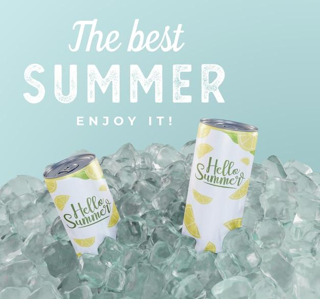 Latas de refrescos con cubitos de hielo. PSD gratuito