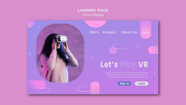 Laten we de bestemmingspagina van virtual reality spelen Gratis Psd