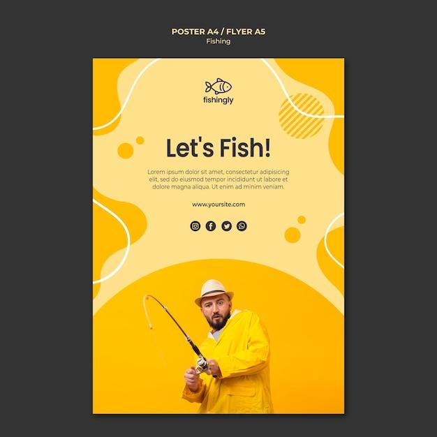 Laten we de man in de gele jas poster vissen Gratis Psd
