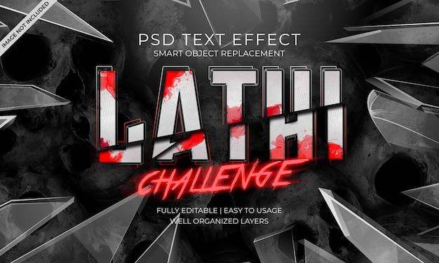 Lathi uitdaging teksteffect Premium Psd