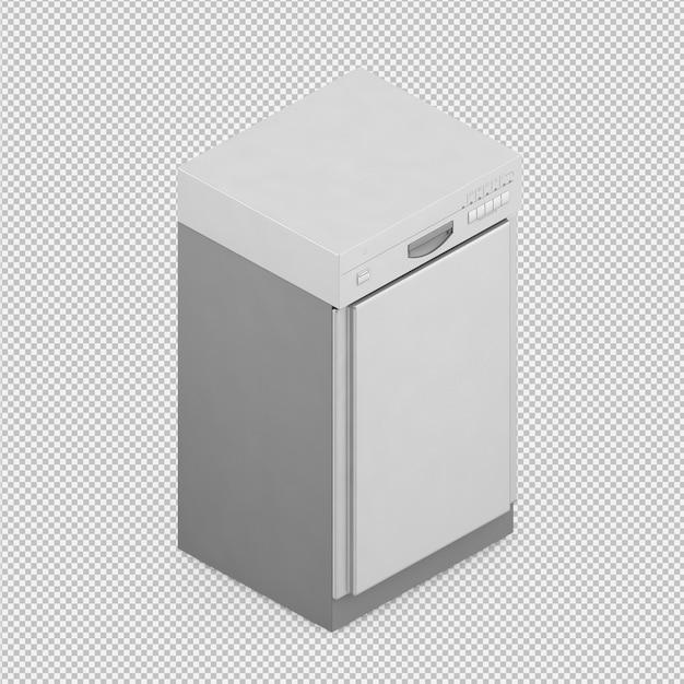 Lavavajillas 3d isométrico render PSD Premium