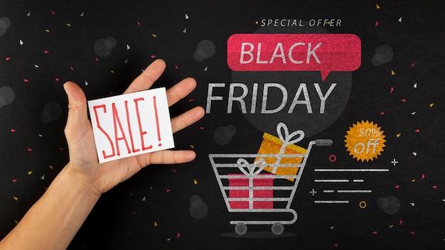 Lay flat de maqueta de viernes negro PSD gratuito
