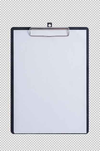 Leeg document op stootkussenklembord dat op witte achtergrond wordt geïsoleerd Premium Psd
