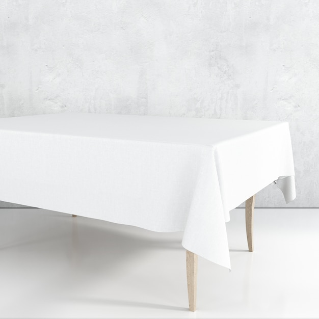 Leeg eettafelmodel met een witte doek Gratis Psd