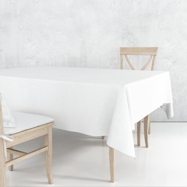 Leeg eettafelmodel met witte doek en houten stoelen Gratis Psd