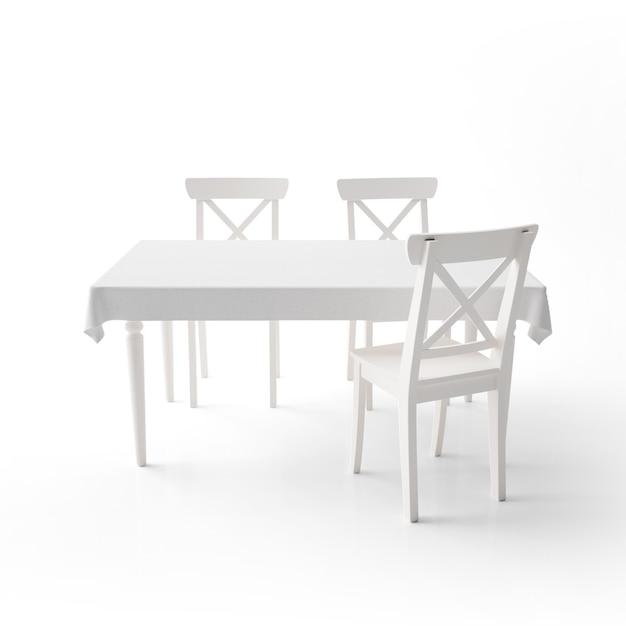 Leeg eettafelmodel met witte doek en moderne stoelen Gratis Psd