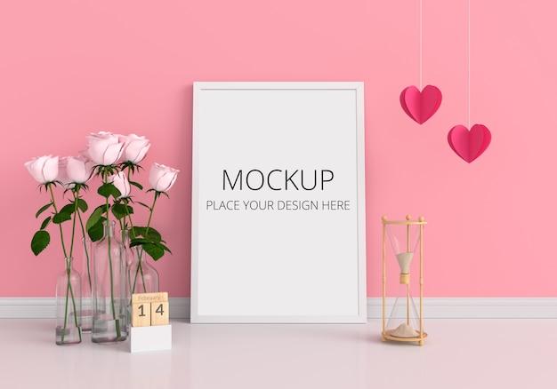 Leeg fotokader voor mockup, valentine concept Premium Psd