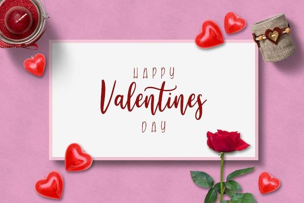 Leeg fotolijstje valentijnsdag mockup Premium Psd