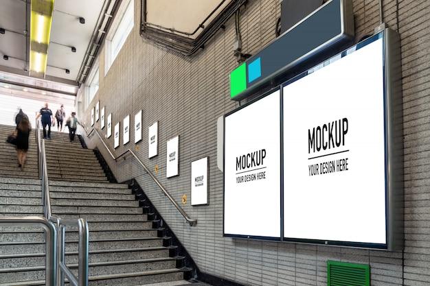 Leeg reclamebord in ondergrondse hal of metro voor reclame, mockup concept, sluiter bij lage lichtsnelheid Premium Psd