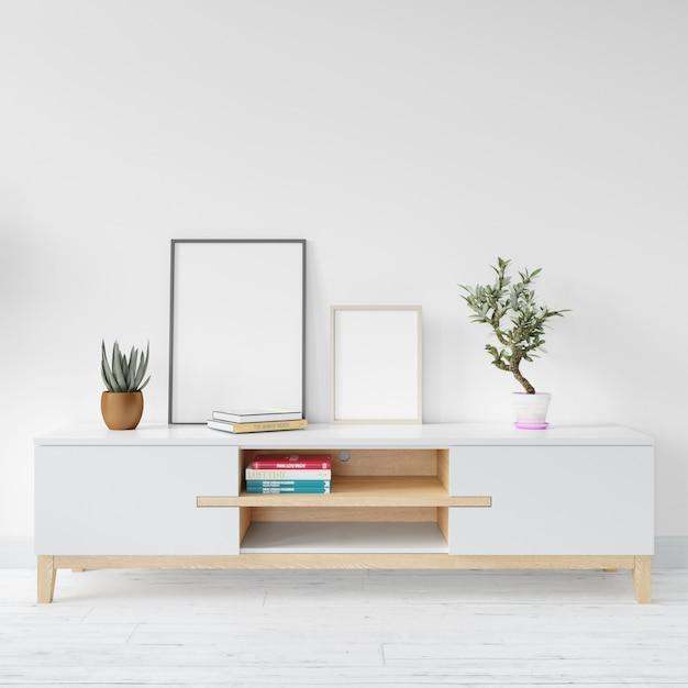 Leeg wit kadermodel op houten lijst Gratis Psd