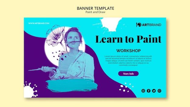 Leer om bannermalplaatje te schilderen Gratis Psd