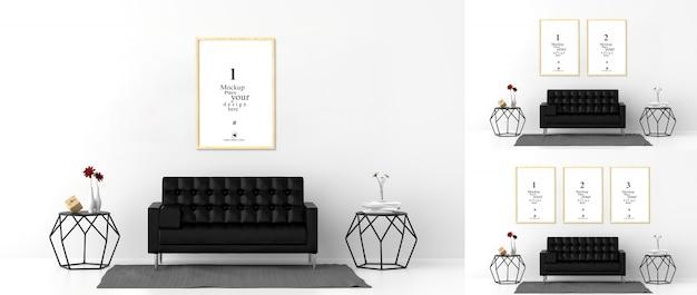 Lege fotolijsten voor mockups in de woonkamer Premium Psd