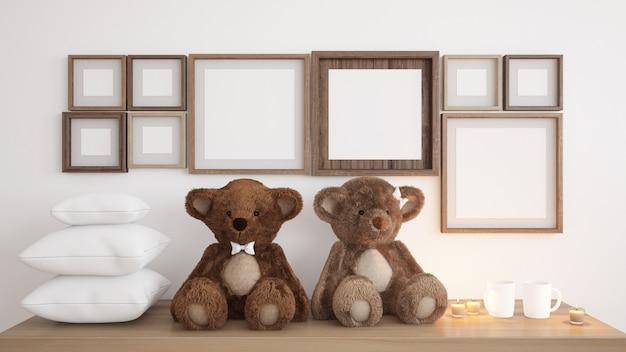 Lege frames met teddyberen en kaarsen Gratis Psd