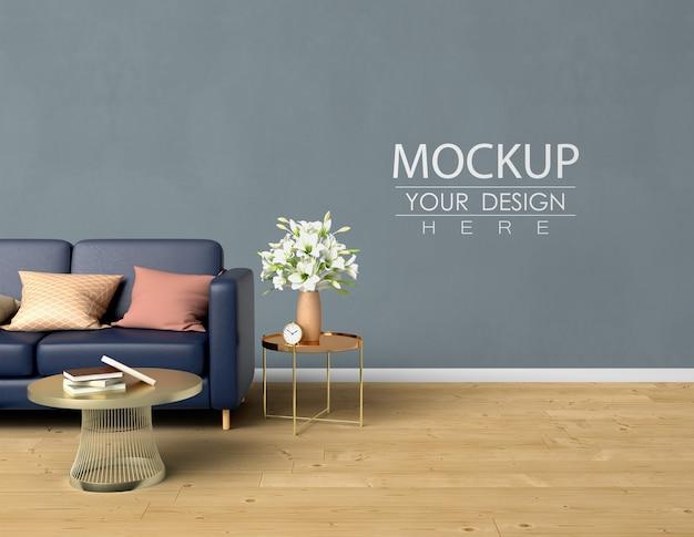 Lege muur mock up met huisdecoratie in het moderne interieur van de woonkamer. Gratis Psd