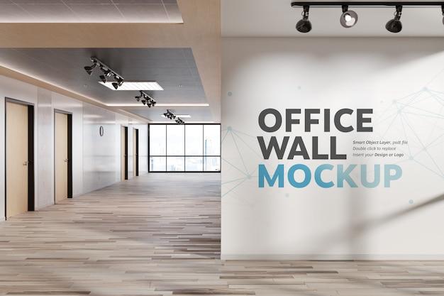 Lege vierkante muur in helder kantoormodel Premium Psd
