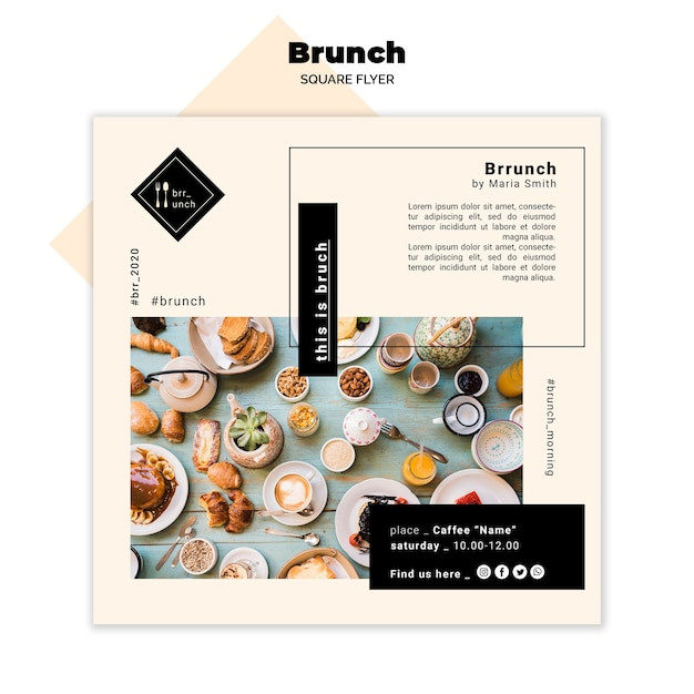 Lekkere brunch vierkante flyer concept Gratis Psd