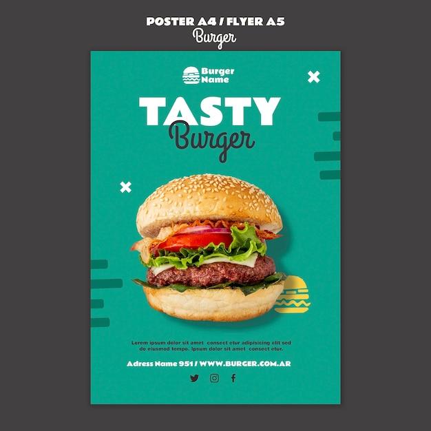 Lekkere hamburger poster afdruksjabloon Gratis Psd