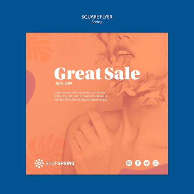 Lente verkoop aanbod vierkante flyer Gratis Psd