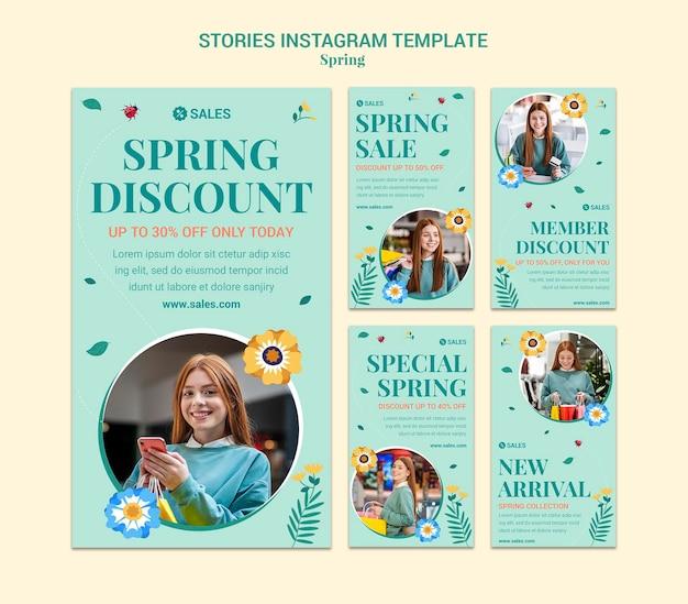 Lente verkoop instagram verhalen Premium Psd