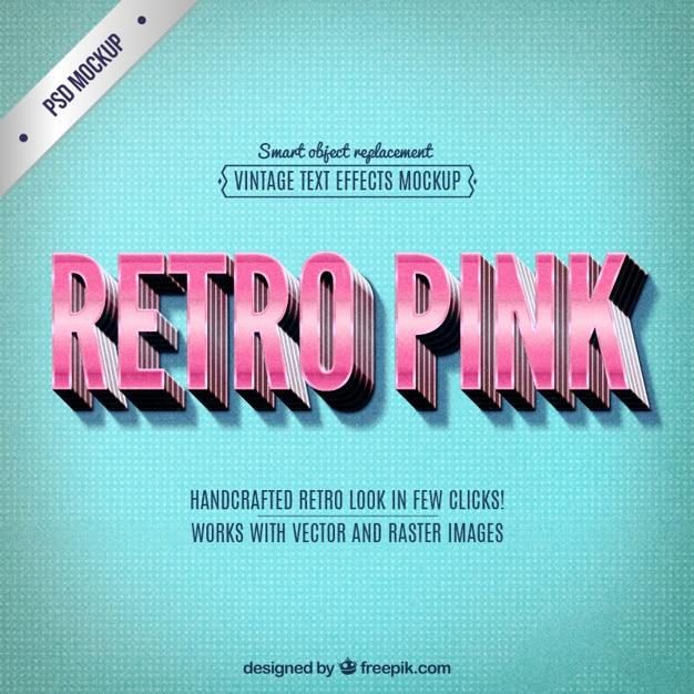 Letras rosadas retro PSD gratuito