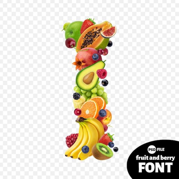 Letter i, fruit lettertype symbool Premium Psd