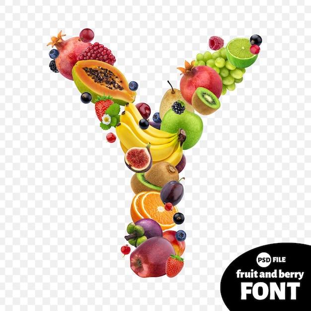 Letter y, fruit lettertype symbool Premium Psd