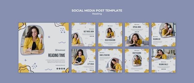 Lettura concetto social media modello di post Psd Gratuite