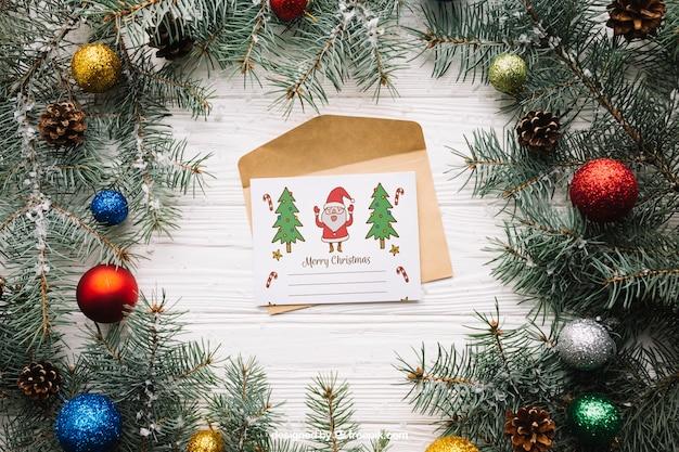 Leuk brievenmodel met kerstmisontwerp Gratis Psd