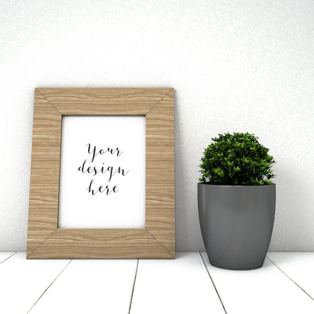 Leuk frame mockup met plant Gratis Psd