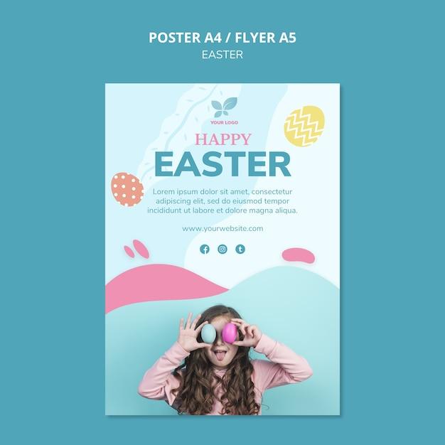 Leuk meisje met kleurrijke eieren poster sjabloon Gratis Psd