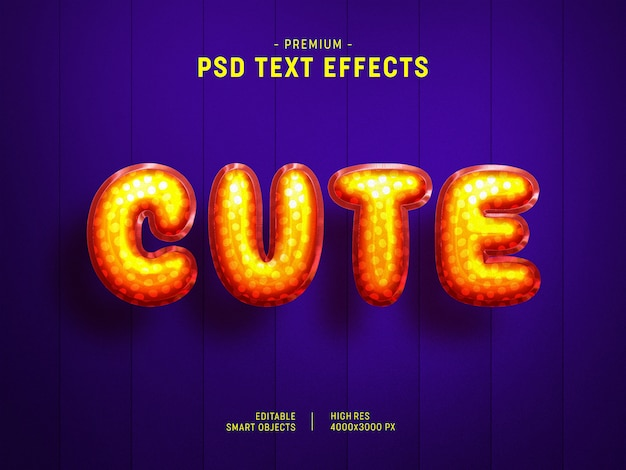 Leuk oranje valentijn ballon tekststijleffect op donkerpaars Premium Psd