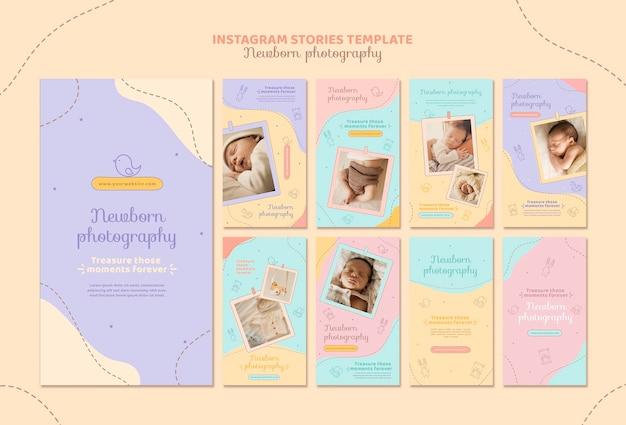 Leuke pasgeboren foto-shoot instagram-verhalen Premium Psd