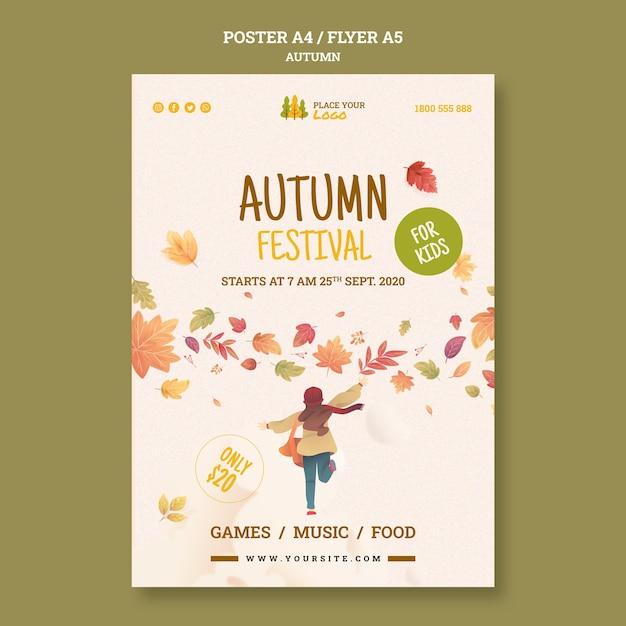 Leuke tijd bij herfst festival folder sjabloon Gratis Psd