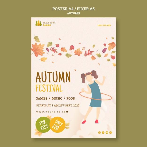 Leuke tijd bij herfst festival poster sjabloon Gratis Psd