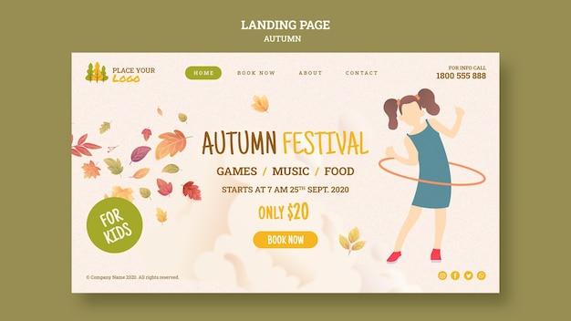 Leuke tijd op herfstfestival voor bestemmingspagina voor kinderen Gratis Psd