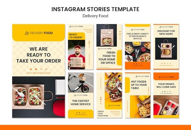 Levering voedsel instagram verhalen sjabloon Gratis Psd