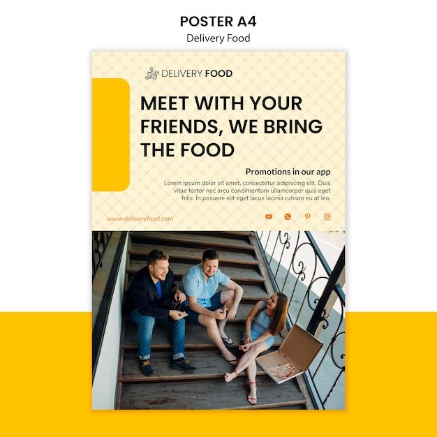Levering voedsel poster sjabloon Gratis Psd