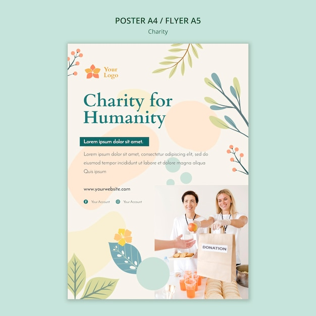 Liefdadigheid poster sjabloon concept Premium Psd