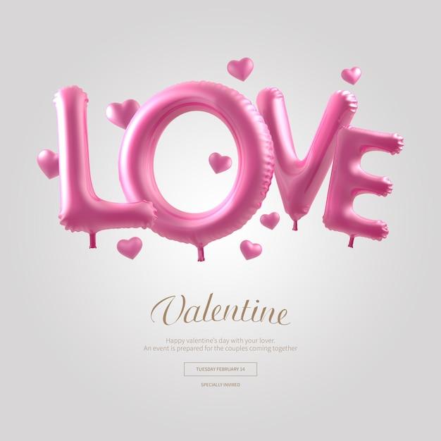 Liefde roze woord ballon banner Premium Psd