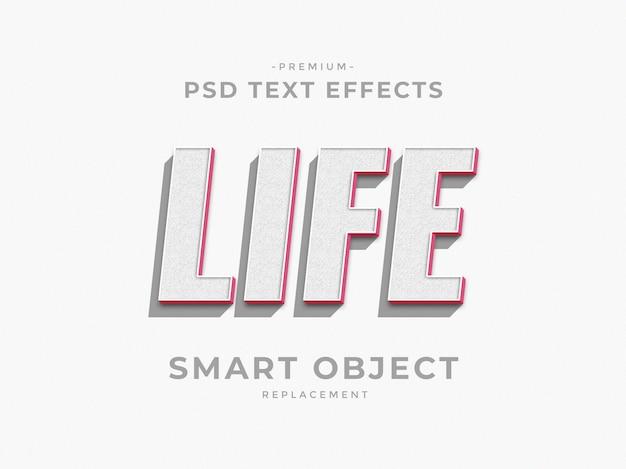 Life 3d photoshop laagstijl teksteffecten Premium Psd