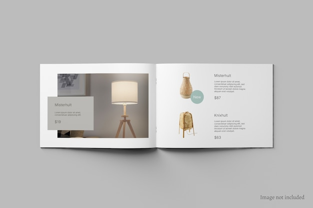 Liggende brochure en catalogusmodel bovenaanzicht Premium Psd