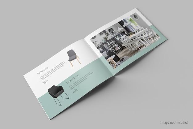 Liggende brochure en catalogusmodel perspectiefweergave Premium Psd