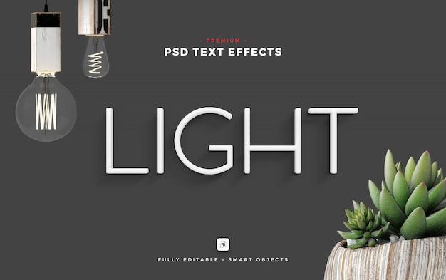 Light text effect mockup Psd Premium