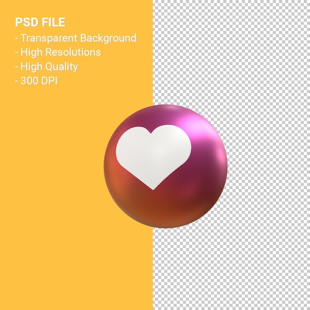 Like of hou van pictogram voor 3d-ballon symbool weergave van instagram geïsoleerd Premium Psd