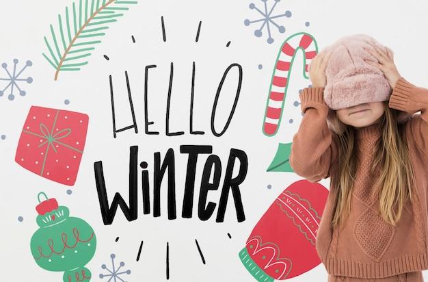 Linda chica con fondo de invierno PSD gratuito